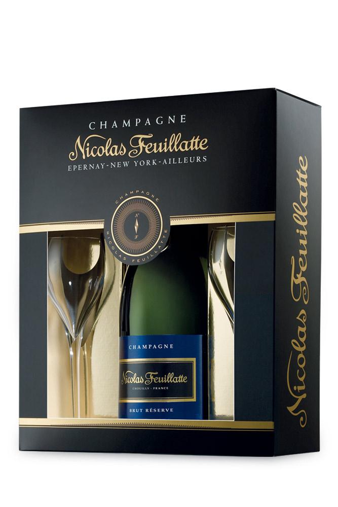 Champagne Brut w/ 2 glasses Nicolas Feuillatte 750ml | planv.gr